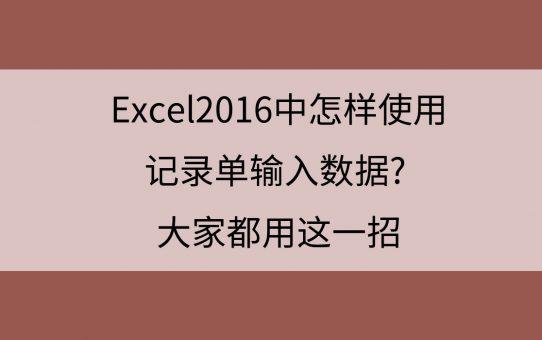 Excel2016中怎样使用记录单输入数据? 大家都用这一招