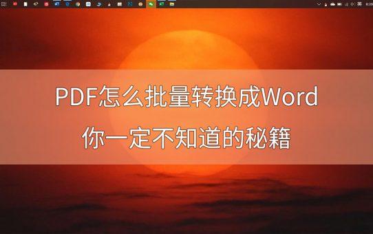 PDF怎么批量转换成Word?你一定不知道的秘籍