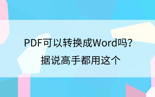 PDF可以转换成Word吗?据说高手都用这个