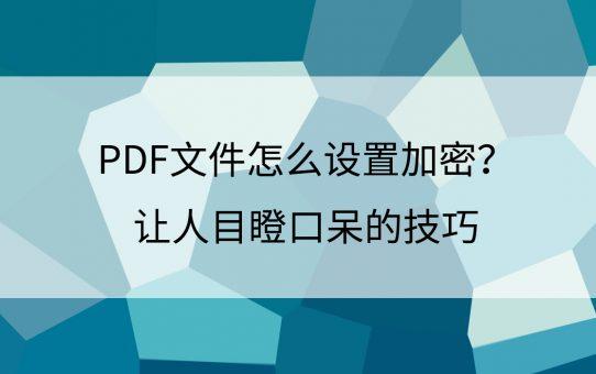 PDF文件怎么设置加密?让人目瞪口呆的技巧