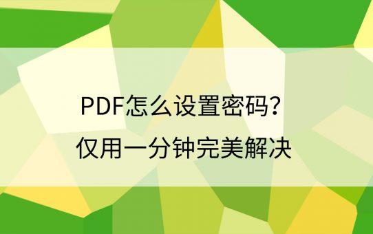 PDF怎么设置密码?仅用一分钟完美解决